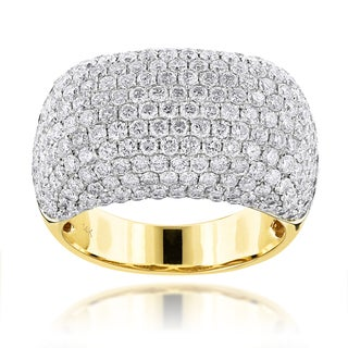 Luxurman 14k Yellow Gold 7ct TDW Round-cut Diamond Ring (F-G, VS1-VS2)