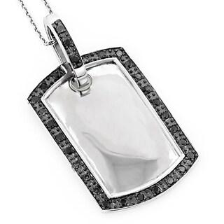 Luxurman 14k White Gold 4/5ct TDW Black Diamond Dog Tag Pendant