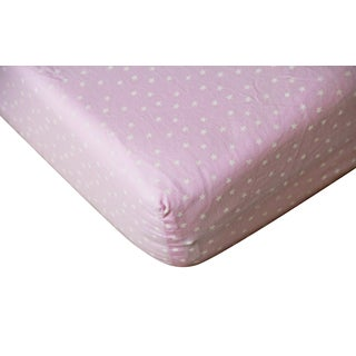 Cotton Girls' Pink Star Fitted Crib Sheet