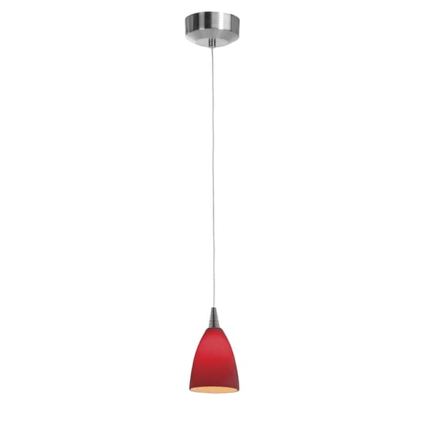 Access Lighting Tungsten LED Mania Glass Steel Pendant, Red