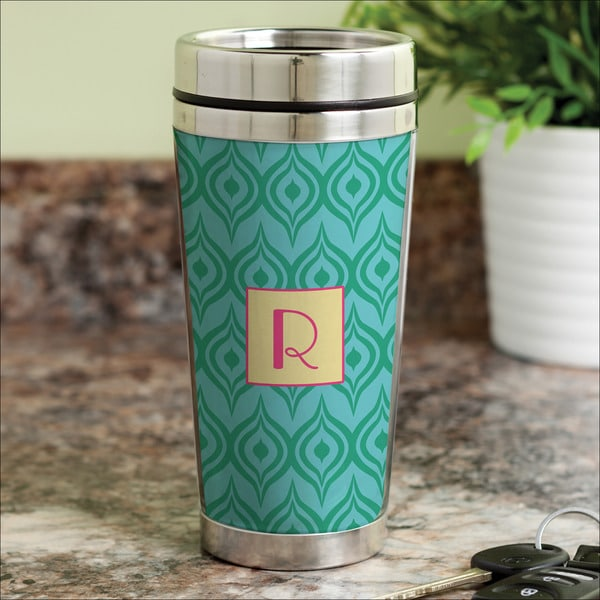 Green Ikat Personalized Travel Mug