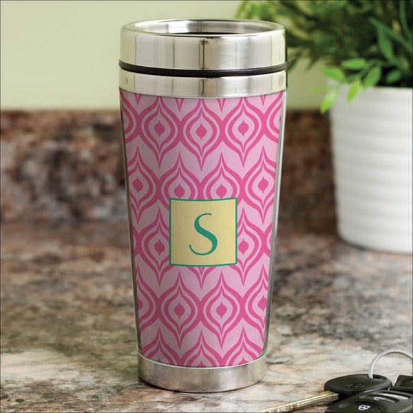 Pink Ikat Personalized Travel Mug