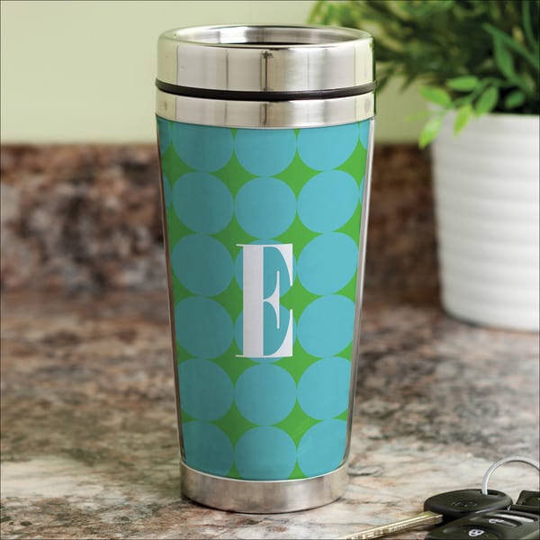 Blue Polka Dots Personalized Travel Mug