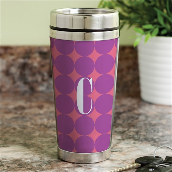 Purple Polka Dots Personalized Travel Mug