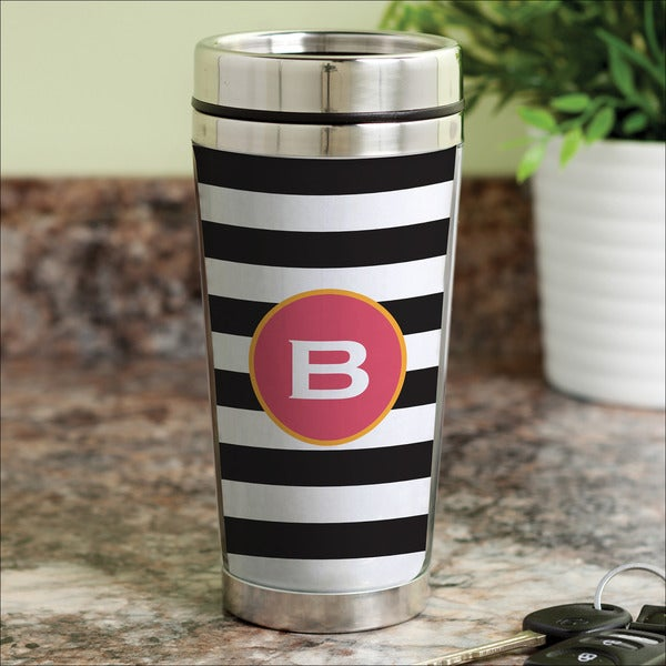 Black and White Stripes Personalized Travel Mug