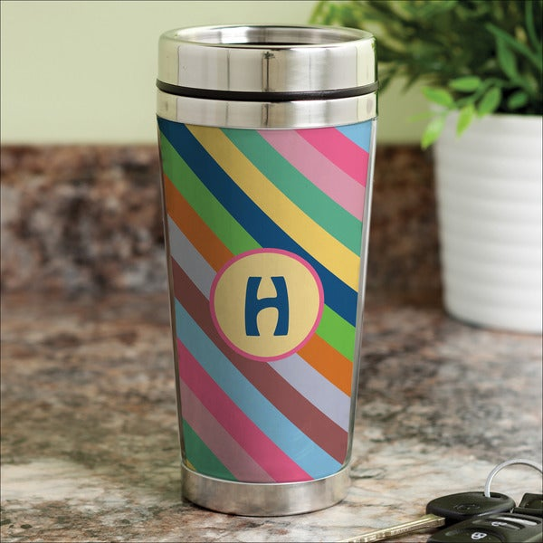 Colorful Stripes Personalized Travel Mug 16097355