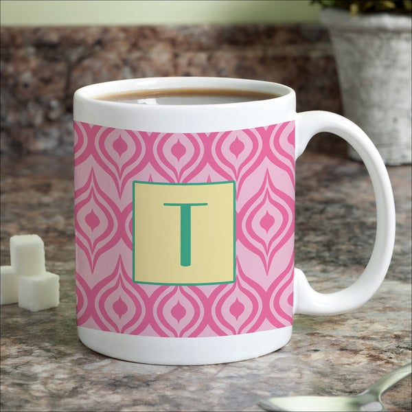 Pink Ikat Personalized Coffee Mug