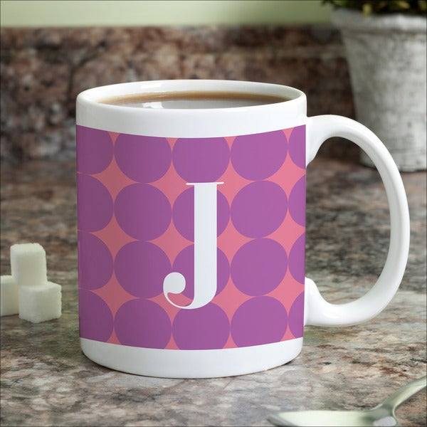 Purple Polka Dots Personalized Coffee Mug