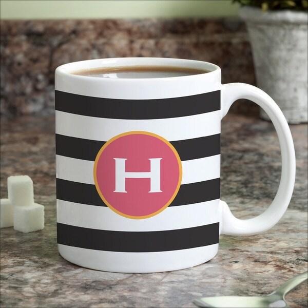Black & White Stripes Personalized Coffee Mug