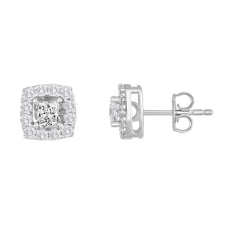 10k White Gold 1ct TDW Princess-cut Diamond Frame Stud Earrings (H-I, I2-I3)