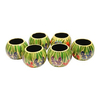 Set of 6 Hand-painted and Laquered Papier-mache Napkin Rings (India)