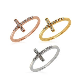 Eternally Haute Sterling Silver Pave Cubic Zirconia Side Cross Ring