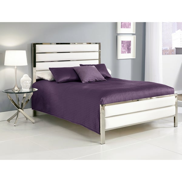 Fashion Bed Group Impulse Complete Bed with Metal Duo Panels and White Upholstery