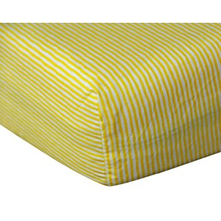 Yellow Stripe Cotton Fitted Crib Sheet