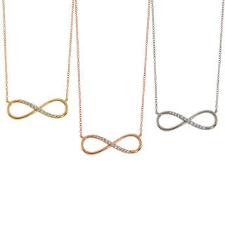 Eternally Haute Sterling Silver Infinity Necklace with Pave Detailing