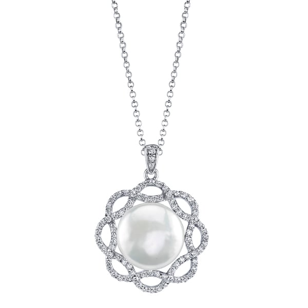 Radiance Pearl Sterling Silver White Freshwater Pearl and Crystal Pendant (12-13mm)
