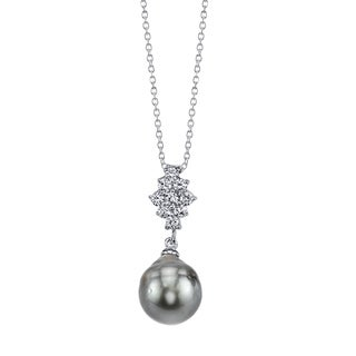 Radiance Pearl Sterling Silver Drop Tahitian South Sea Pearl and Crystal Pendant (9-10mm)