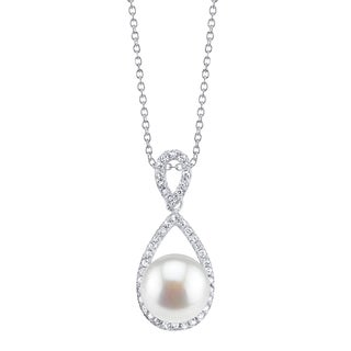 Radiance Pearl Sterling Silver White Freshwater Pearl and Crystal Pendant (10-11mm)