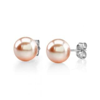 Radiance Pearl 14k Gold 8mm Peach Freshwater Pearl Stud Earrings (8-9mm)