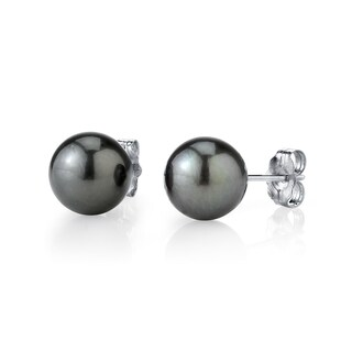 Radiance Pearl 14k Gold 8mm Tahitian South Sea Pearl Stud Earrings (8-9mm)