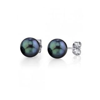 Radiance Pearl 14k Gold Round Black Akoya Pearl Stud Earrings (6-7mm)