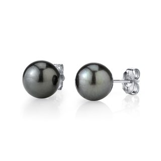 Radiance Pearl 14k Gold 10mm Tahitian South Sea Pearl Stud Earrings (10-11mm)
