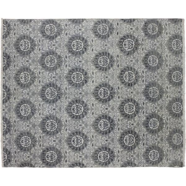 Oushak Issam Grey Hand-knotted Rug (7'9 x 10'3)