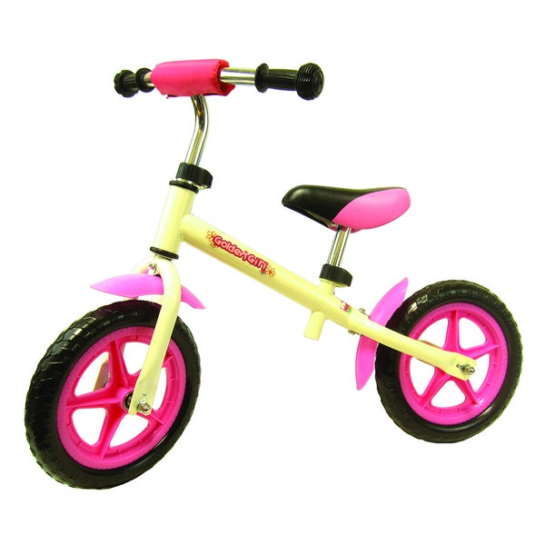 White and Pink Metal Balance Bike