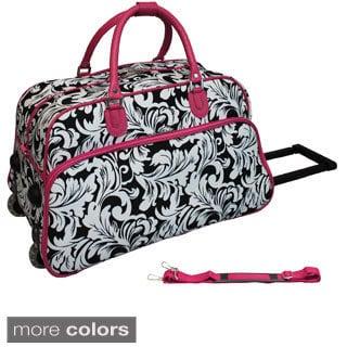 World Traveler Leaf Scroll 21-inch Carry-on Rolling Duffle Bag