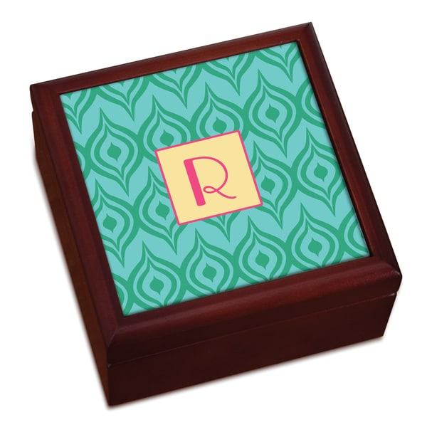 Green Ikat Personalized Keepsake Box