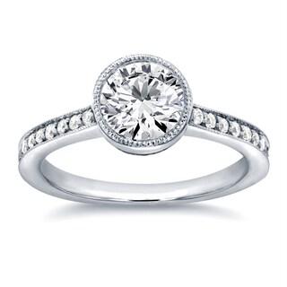 Annello 14k White Gold 1 1/4ct TDW Diamond Bezel and Pave Engagement Ring (H-I, I1-I2)