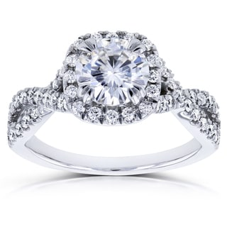 Annello 14k White Gold 1 1/2ct TDW Diamond Criss Cross Engagement Ring (H-I, I1-I2)