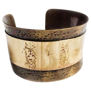 Handmade Double Row Two-tone Brass Cuff (India)