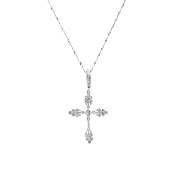 Art Deco CZ Cross Pendant Necklace