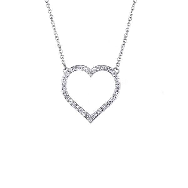 Brass CZ Pave Heart Charm Necklace