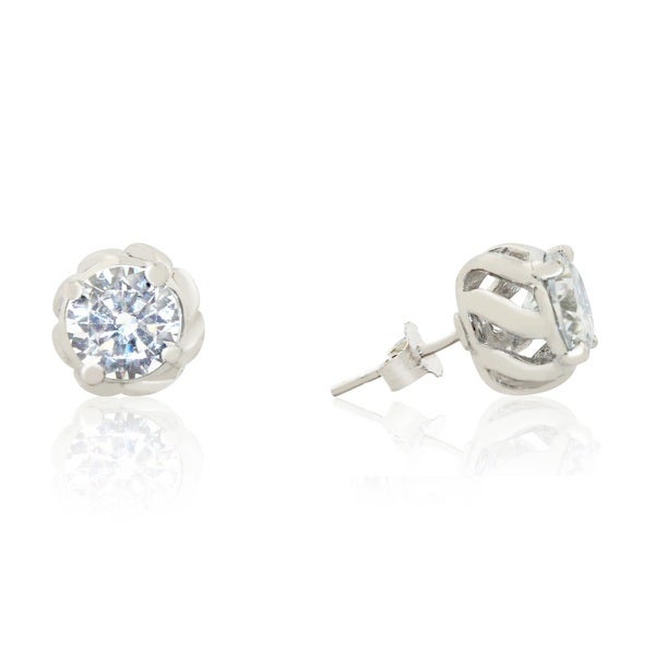 Gioelli Sterling Silver Cubic Zirconia Round Blossom Stud Earrings