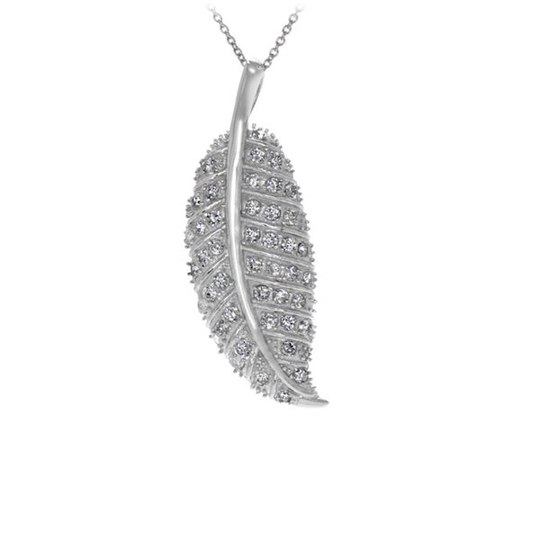 Sterling Silver Pave CZ Leaf Necklace
