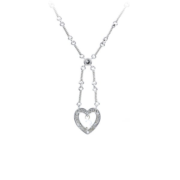 Sterling Silver CZ Heart Charm Necklace