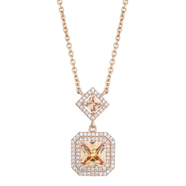 18in Rose Gold and Princess Cut Champagne CZ Drop Necklace
