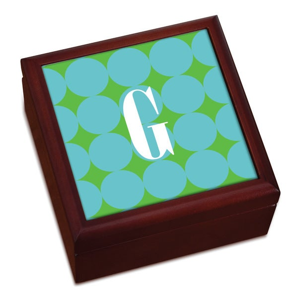 Blue Polka Dots Personalized Keepsake Box