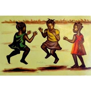 Nana Kojo 'Children At Play' Canvas Art Painting (Ghana)