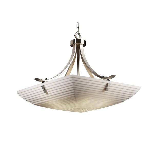 Justice Design Group Porcelina Flat Bars with Finials 6-light Nickel Pendant