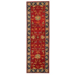Herat Oriental Indo Hand-tufted Mahal Red/ Blue Wool Rug (2'6 x 8')