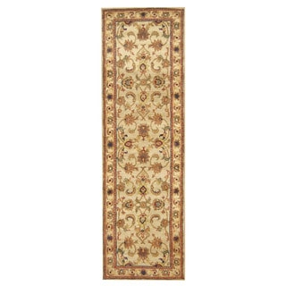 Herat Oriental Indo Hand-tufted Mahal Light Green/ Ivory Wool Rug (3' x 10')