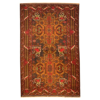 Herat Oriental Afghan Hand-knotted Tribal Balouchi Brown/ Navy Wool Rug (2'10 x 4'5)