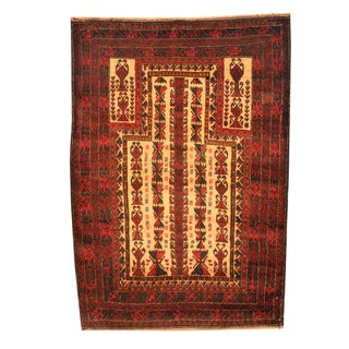 Herat Oriental Afghan Hand-knotted Tribal Balouchi Ivory/ Red Wool Rug (3' x 4'3)
