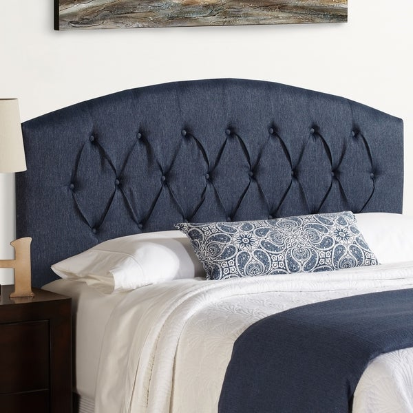 Humble + Haute Halifax Full Size Navy Blue Curved Upholstered Headboard
