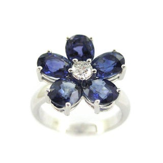 Kabella 18k White Gold Sapphire and 1/6ct TDW Diamond Ring (G-H, SI1-SI2)