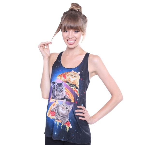 Juniors' Pizza Cats Graphic Print Top