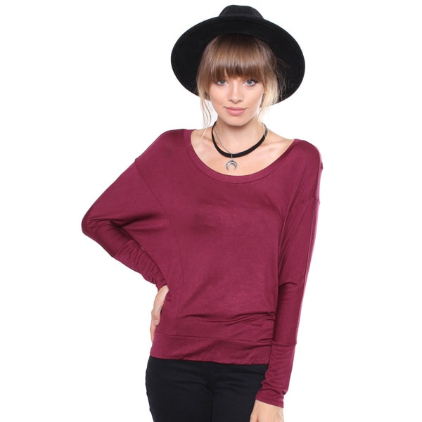 Juniors' Contemporary Burgundy Long Sleeve Blouse